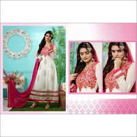 Off White Faux Georgette Anarkali Churidar Kameez