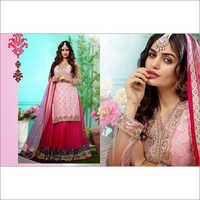 White&Pink Faux Georgette Anarkali Churidar Kameez