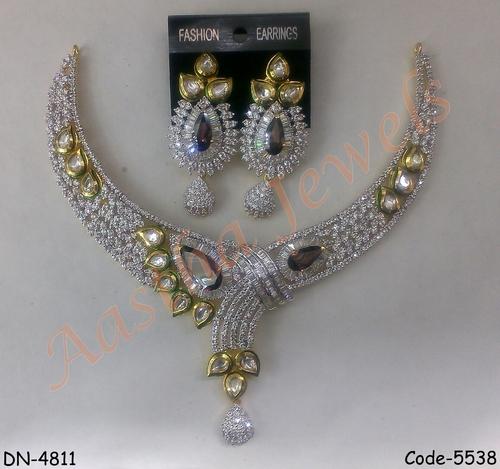 American Diamond Bridal Necklace with Kundan