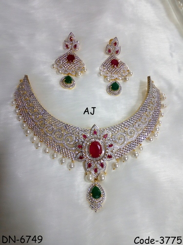 American Diamond Bridal Necklace with Pearl