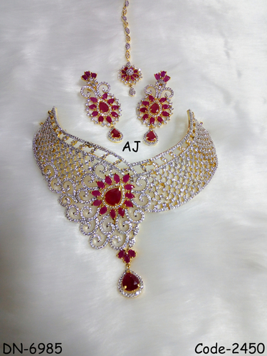 American Diamond Bridal Necklace with Colour Stone