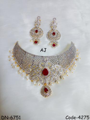Designer American Diamond Choker with Pearl