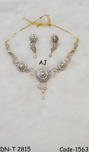 American Diamond Necklace with Pearl