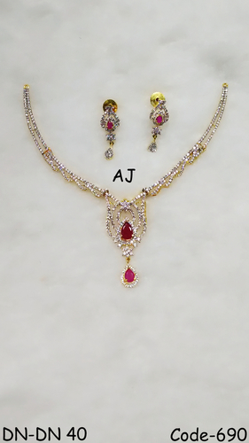 American Diamond Necklace with Colour Stone