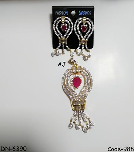 American Diamond Pendant Set with Colour Stone