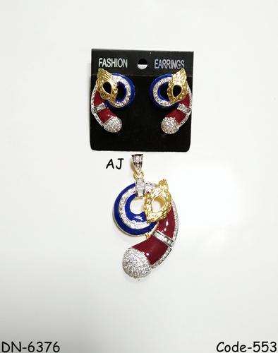 American Diamond Pendant Set with Meena