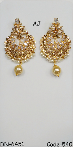 Gold Plated American Diamond Earring With Pearl