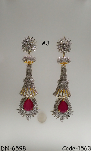 American DiamDiamond ond Earring with Colour Stone