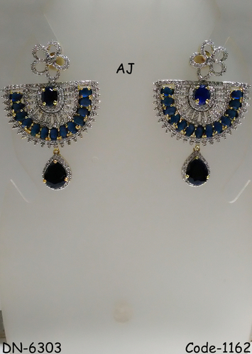 American Diamond Earring with Colour Stone