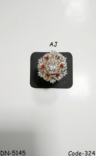 American Diamond Fancy Ring with Colour Stone