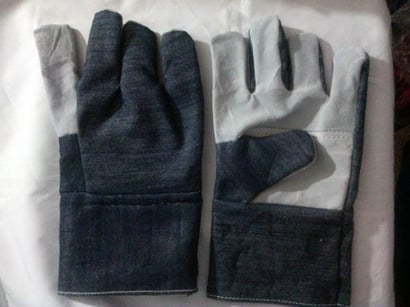 Blue And White Half Jeans Hand Gloves