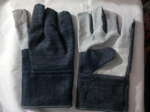 Half Leather & Half Jeans hand gloves