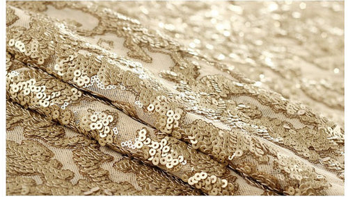 Tule spun Net Fabric with Gold Sequin embroidery