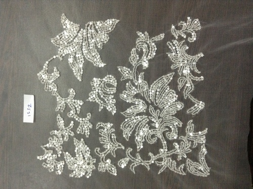 Tule spun Net Fabric with silver Sequin embroidery