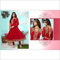 Red Faux Georgette Anarkali Churidar Kameez