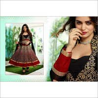 Black, Beige and Red Faux Georgette Anarkali Churidar Kameez