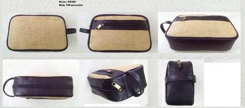 Brown Jute Leather Wash Bag