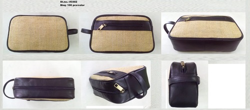 JUTE-LEATHER WASH-BAG