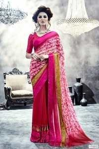 Pink Crepe Designer Party Wear Saree