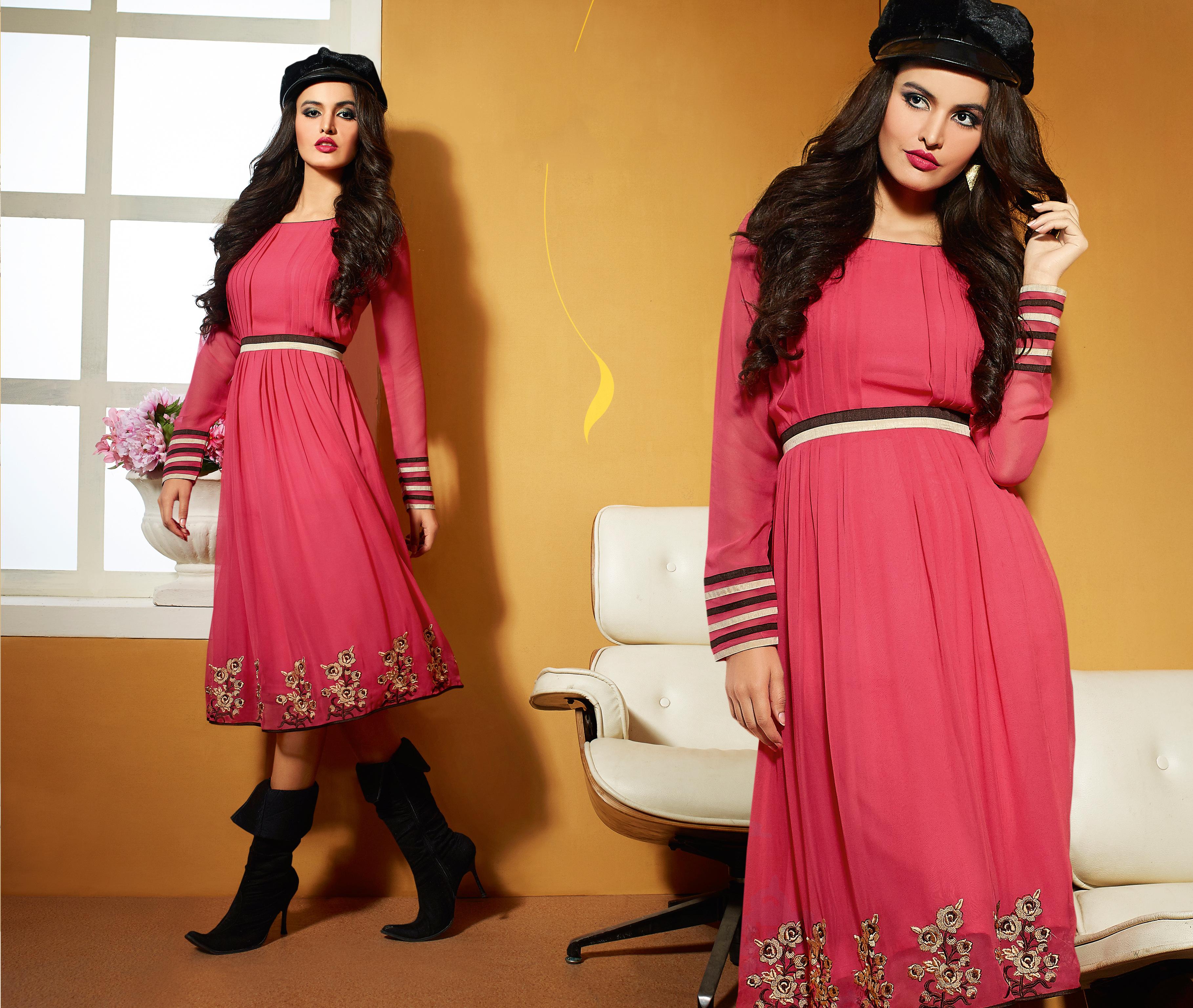 Purple Designer Georgette Lehenga Style Suit