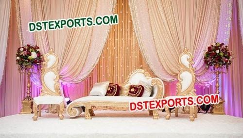 Asian Wedding Stage Gold Furniture Set