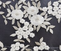 Hand Embroidered Net Fabric