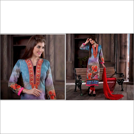 Shaded Blue Cotton Kameez with Narrow Pant