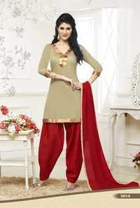 Olive Beige Cotton Kameez with Patiala
