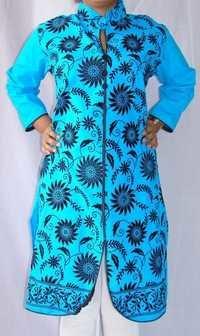 Cotton Pakistani Long Kurti Velvet with Collar