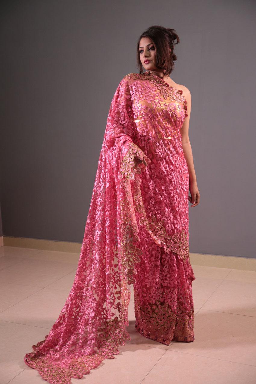Heavy hand embroidery saree