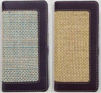 Mobile Case In Jute/Leather Combo