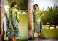 Neon Green and Yellow Faux Crepe Kameez with Straight Pant