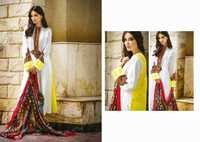 Off White and Yellow Faux Crepe Churidar Kameez