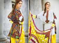 Off White and Yellow Faux Crepe Salwar Kameez