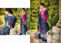 Fuchsia and Blue Faux Crepe Kameez with Palazzo