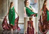 Green and Brown Faux Crepe Churidar Kameez