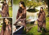 Brown Faux Crepe Kameez with Straight Pant