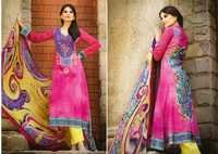 Fuchsia Faux Crepe Kameez with Straight Pant