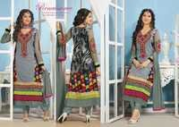 Grey Faux Georgette Kameez with Straight Pant