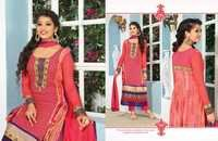 Old Rose Faux Georgette Kameez with Straight Pant