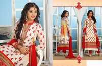 Off White and Red Faux Georgette Kameez with Straight Pant