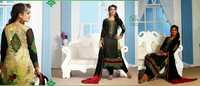 Black and Beige Faux Georgette Kameez with Straight Pant