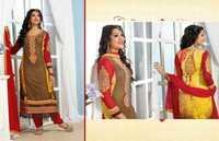 Brown and Yellow Faux Georgette Kameez with Straight Pant