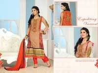 Beige and Rust Faux Georgette Kameez with Straight Pant