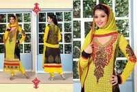 Yellow Faux Georgette Kameez with Straight Pant