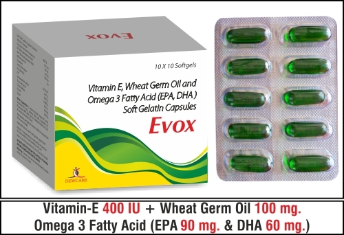 Vitamin-E....400 I.U. + Wheat germ oil....100 mg.  Omega 3 Fatty Acid (EPA 90 mg. & DHA 60 mg.)