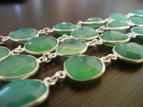Green Chalcedony Sterling Silver Bezel Chain