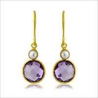 Amethyst & Pearl Gemstone Earring