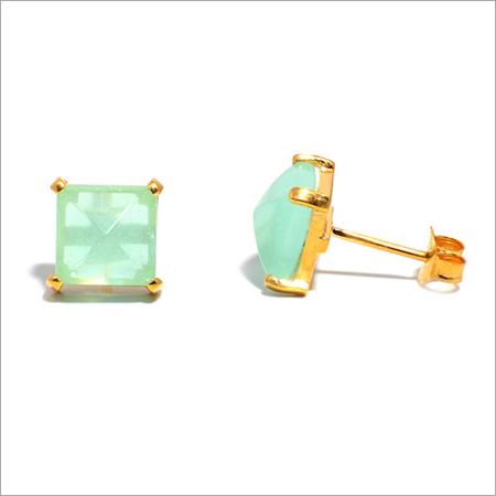 Aqua Chalcedony Gemstone Studs