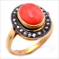 Coral Diamond Gemstone Victorian Ring
